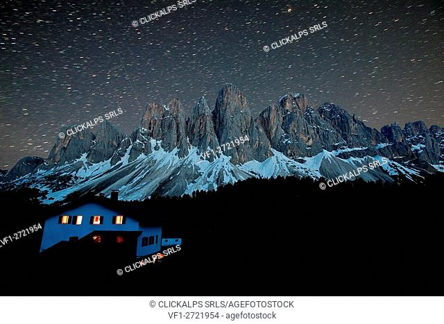 Starry sky over the Odle from the hut Malga Glatsch. Funes Valley Dolomites. Trentino Alto Adige. Italy Europe