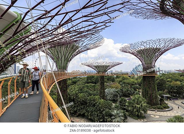 Singapore, Singapore - October 16, 2018: Tourists walking on the Supetree Grove at the Gardens by the Bay in Singapore