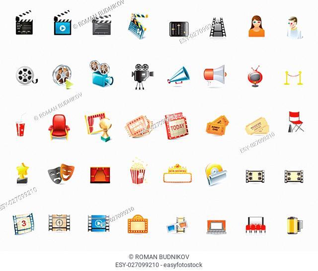 Cinema Icon Set. Vector Illustration EPS 10