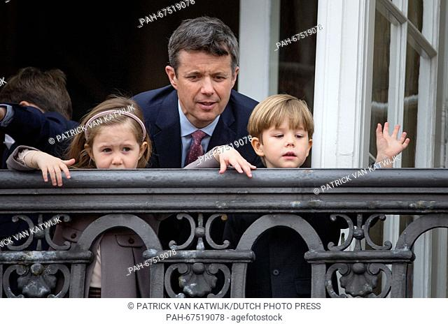 Crown Prince Frederik (back), Prince Vincent and Princess Josephine of Denmark during the 76th birthday celebration of Queen Margrethe at the balcony of...