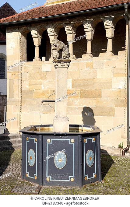 Fountain in front of the Romanesque Erhardskapelle chapel, Benedictine monastery of Comburg, Grosscomburg, Steinbach near Schwaebisch Hall, Baden-Wuerttemberg