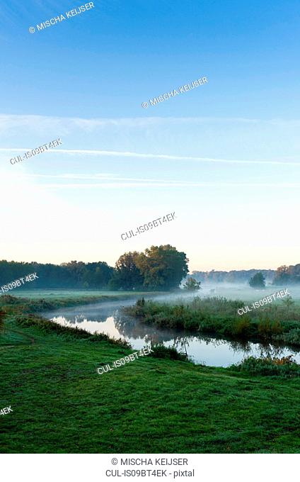 River Mark in early morning mist, Netherlands