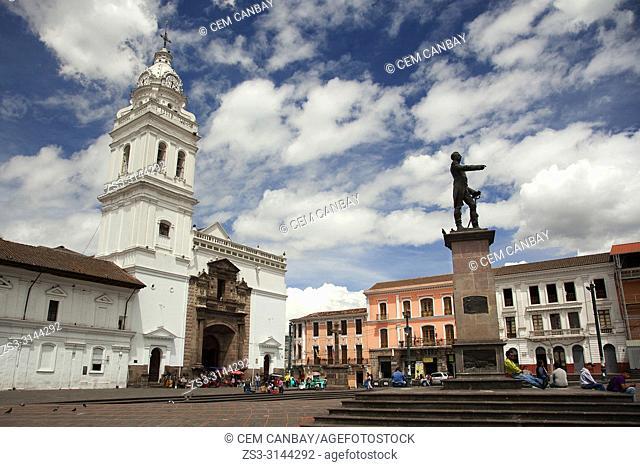View to the Santo Domingo Church-Iglesia De Santo Domingo and statue of Antonio Jose de Sucre at Plaza Santo Domingo Square in the historic center, Quito