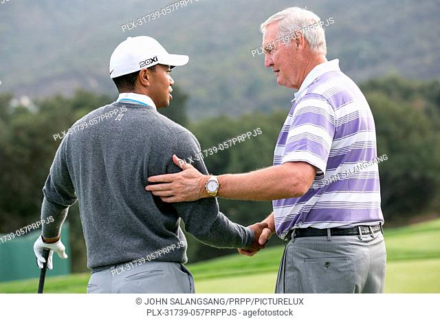 Tiger Woods and NBA great Jerry West talks golf while preparing for the 2012 World Challenge at Sherwood Country Club on November 27, 2012 in Thousand Oaks