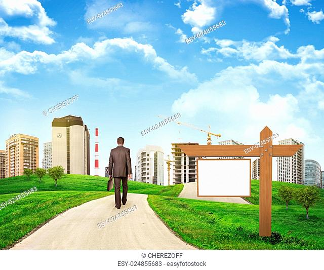 Businessman walks on road. Rear view. Buildings, grass field, wooden signboard and sky in background. Business concept