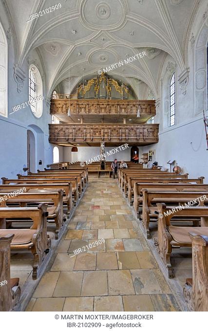 Interior view, pilgrimage church of the Assumption, Mariae Himmelfahrt, Hohenpeissenberg, Pfaffenwinkel, Upper Bavaria, Bavaria, Germany, Europe