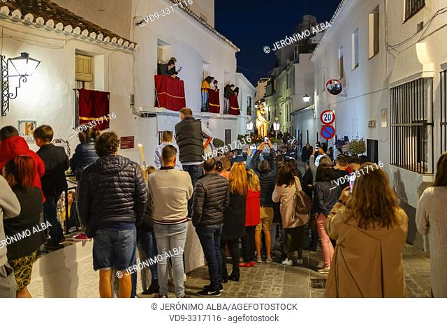 Holy Week procession, white village Mijas Pueblo. Malaga province, Costa del Sol. Andalusia, Spain. Europe