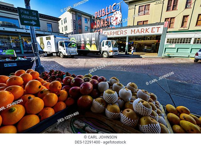 Fruit on display at Pike Place Market in downtown Seattle; Seattle, Washington, United States of America