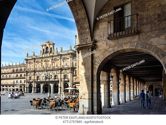 The Baroque facade of the Plaza Mayor and its arcade, in the center of Salamanca, Spain