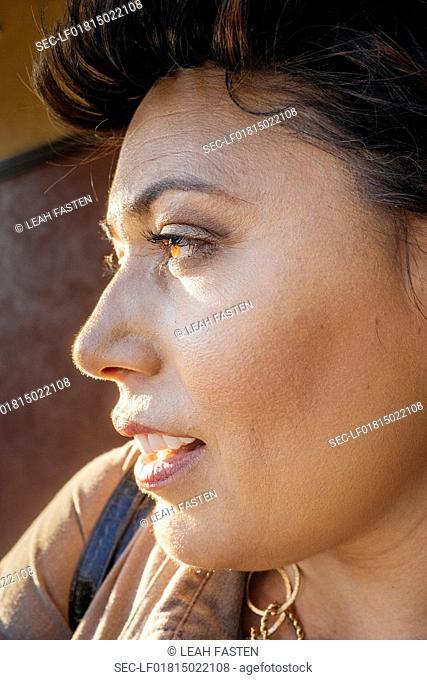 Uplcose profile of woman