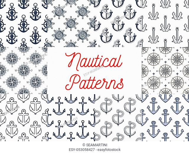 Nautical seamless patterns set of marine anchor, helm and steering wheel with rope, vintage navigation compass and wind rose