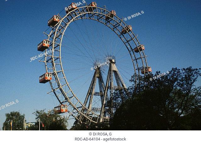 Amusement park Prater with Giant Wheel Vienna Austria