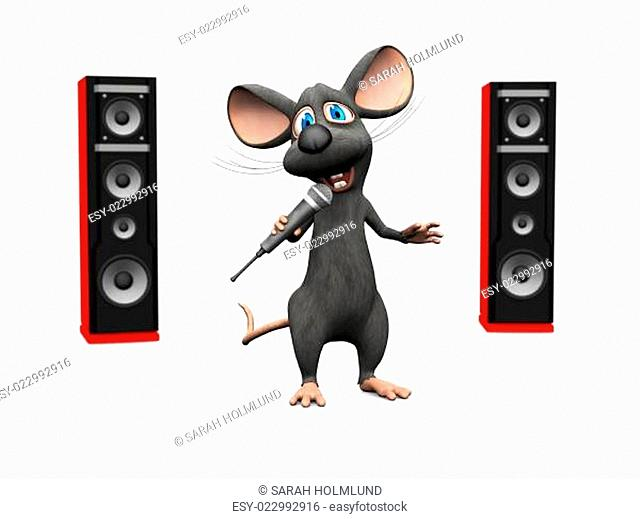 Cartoon mouse singing with microphone and big speakers