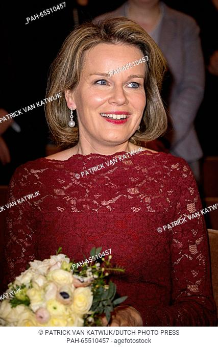 Queen Mathilde of Belgium attend the galaconcert of the Young Belgian Strings in Flagey concert hall in Brussels, Belgium, 31 January 2016