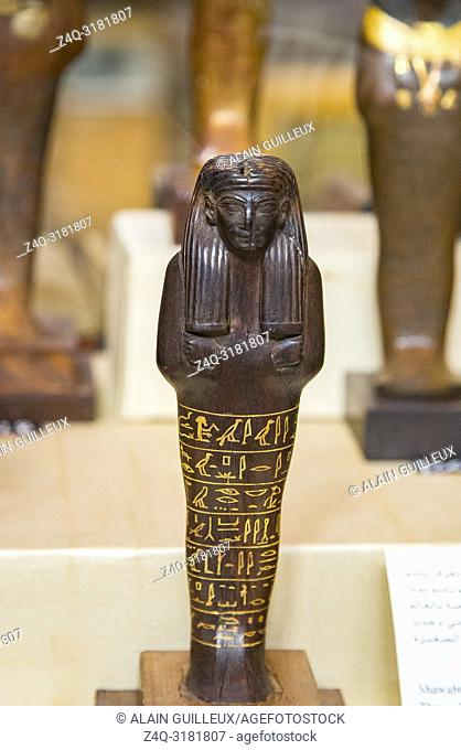 Egypt, Cairo, Egyptian Museum, from the tomb of Yuya and Thuya in Luxor : Ushebti, in ebony. The text is painted yellow