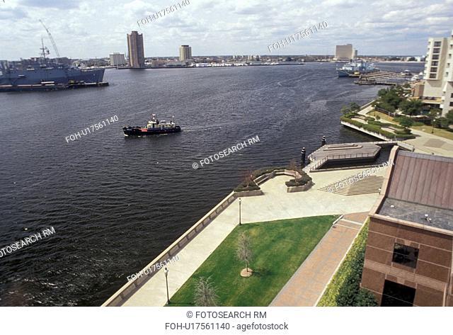 Norfolk, Virginia, Aerial view of Norfolk's Harbor in the state of Virginia