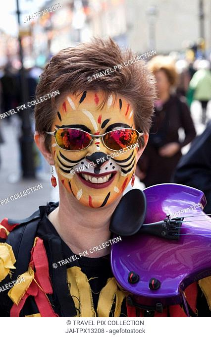 England, Kent, Rochester, Female Morris Dancer at the Annual Sweeps Festival