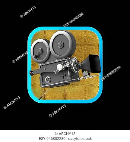 high detailed vintage movie camera on rounded square background.High resolution 3d render application icon for video editor, camera VFX application