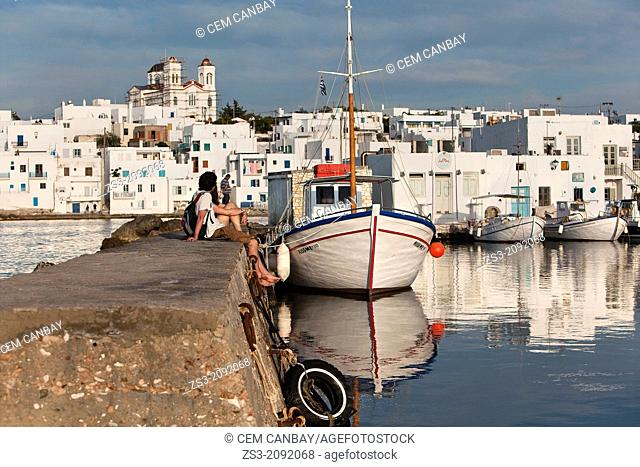 Fishing boats at the harbor of Naoussa, Paros, Cyclades Islands, Greek Islands, Greece, Europe