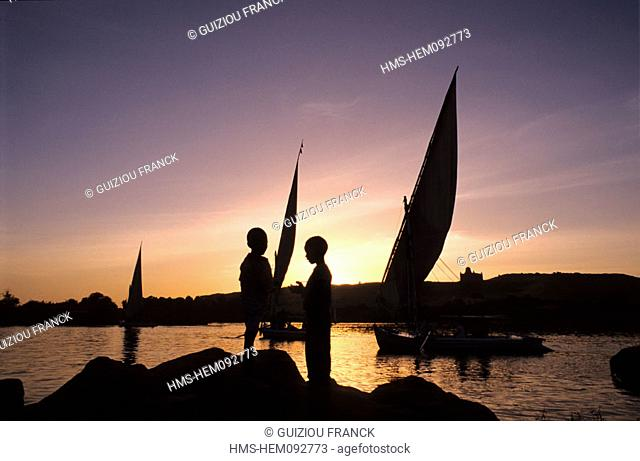 Egypt, Nile Valley, Aswan, felucca at sunset
