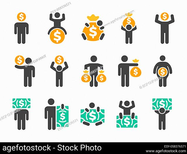 money man icon set, vector and illustration