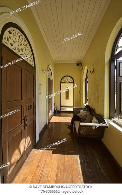 Sunlit corridor at the beautiful Italian-Thai mansion, The Praya Palazzo, Bangkok, Thailand