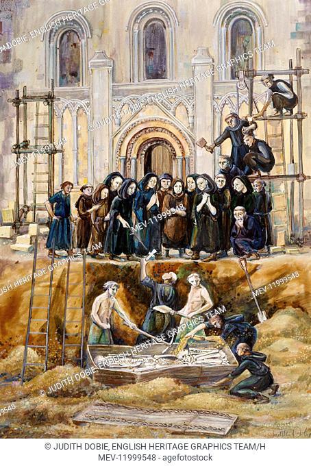 GLASTONBURY ABBEY, Somerset. Exhumation of Arthur and Guinivere 1193 by Judith Dobie (English Heritage Graphics Team)