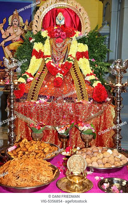 CANADA, BRAMPTON, 03.08.2015, The idol of Vel is decorated beautifully with fresh flowers and pure silk during the Aadivel Festival (Aadi Vel Festival) at the...