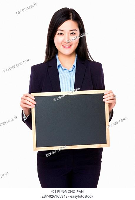 Young businesswoman show with chalkboard