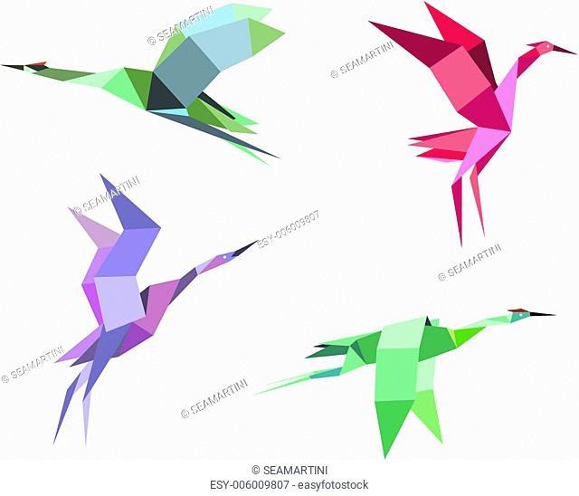 Cranes and herons birds in origami paper style for ecological or another design