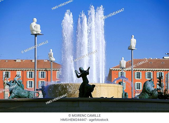 France, Alpes Maritimes, Nice, Old Town, Place Massena, statues by Jaume Piensa and Fontaine du Soleil Fountain of the Sun
