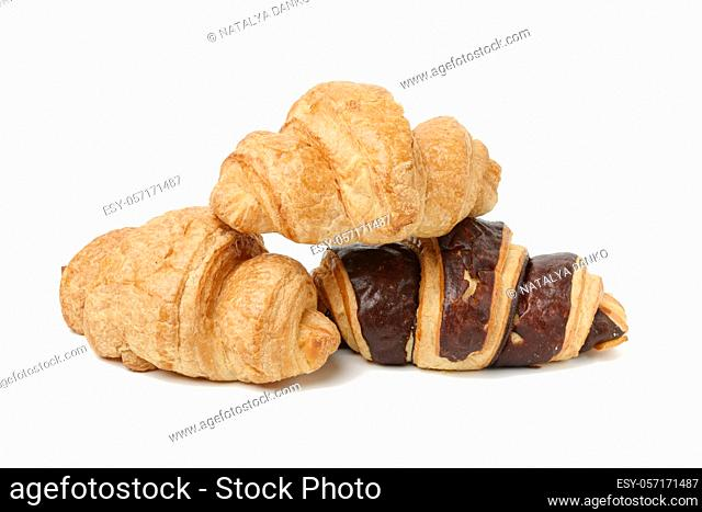 baked chocolate croissant made from white wheat flour isolated on white background, set