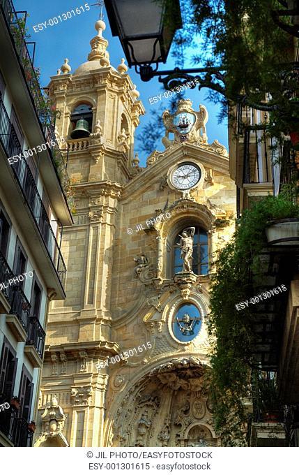 main facade of the Basilica of Santa Maria view from Main Street  Donostia-San Sebastian  European Capital of Culture 2016  Gipuzkoa, Euskadi, Spain