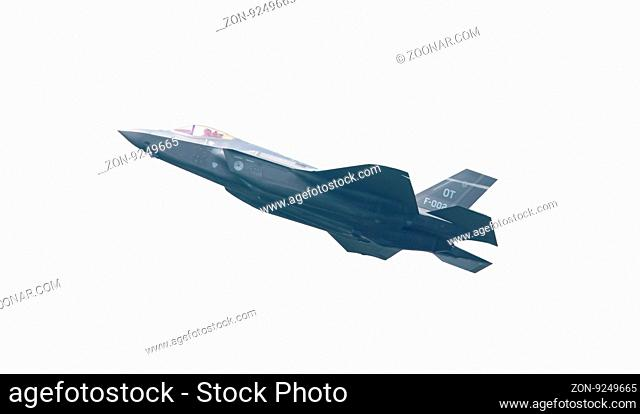 LEEUWARDEN, THE NETHERLANDS -MAY 26: F-35 fighter during it's first test in Europe on May 26, 2016 in Leeuwarden. It is the world's most advanced multi-role...