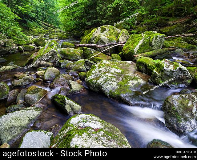 Valley of river Wolfsteiner Ohe (Buchberger Leite) in the Bavarian Forest. Europe, Germany, Bavaria