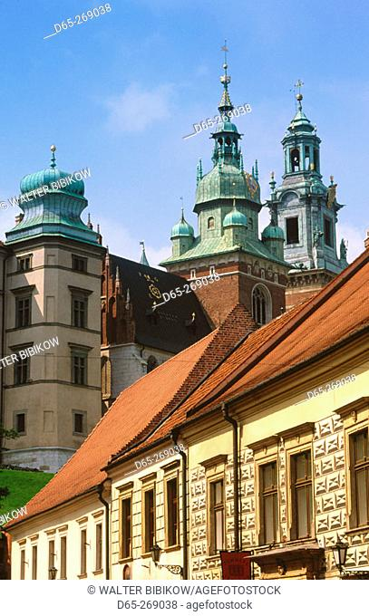 Buildings along Kanonicza street. Wavel Cathedral. Wavel Hill. Krakow. Poland