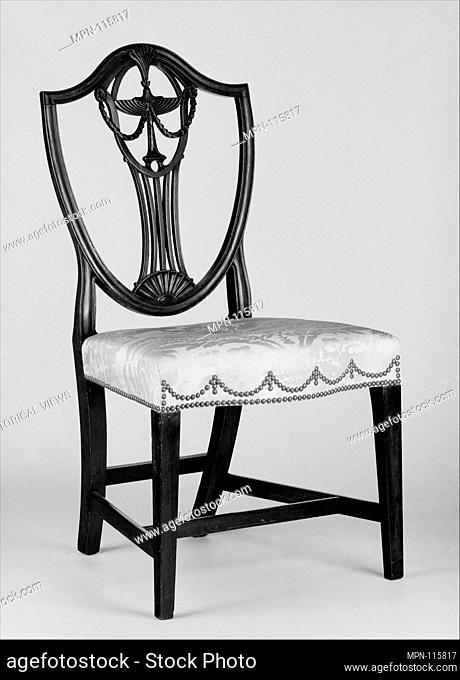 Side Chair. Date: 1795-1805; Geography: Made in Rhode Island, United States; Culture: American; Medium: Mahogany, maple; Dimensions: 39 1/4 x 21 1/4 x 20 3/4 in