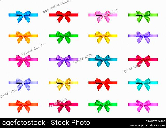 Decorative gift ribbon and bow isolated on white background. Blue, red, green, pink, golden holiday decoration. Vector set of decor elements for banner