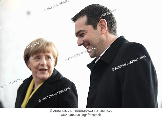 Angela Merkel, German chancellor, welcomes the Greece Prime Minister Alexis Tsipras with Military Honours at the German chancellery
