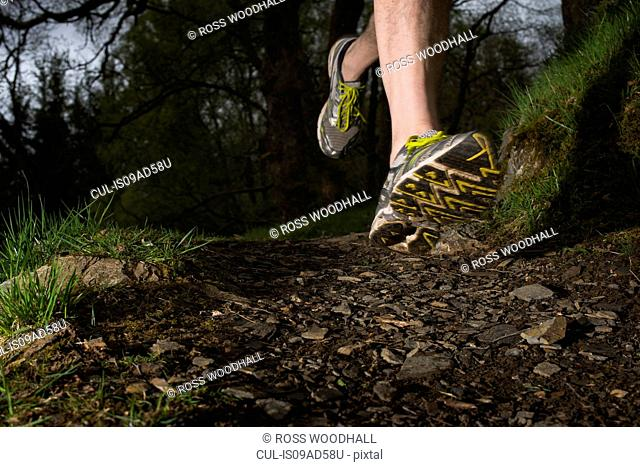 Man wearing trainers running, close up