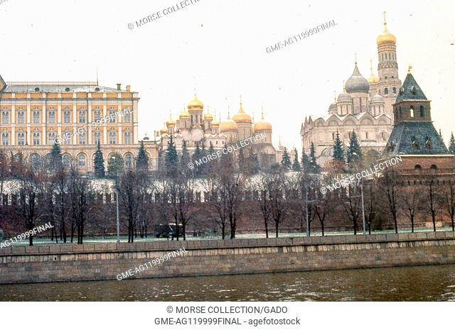 View facing north of the southern wall of the Kremlin building complex, taken from the Sofiyskaya Embankment located across the Moscow River, November, 1973