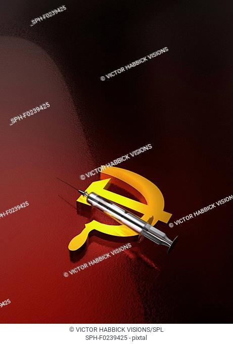 Russian drug use, conceptual illustration