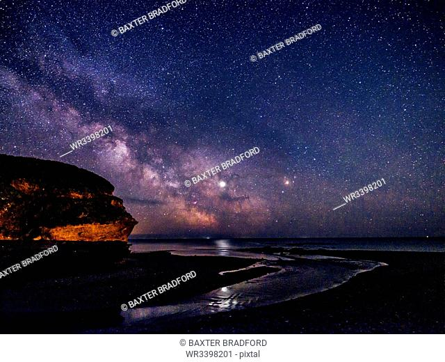 Milky Way and Jupiter beyond Otter Head at Budleigh Salterton, Devon, England, United Kingdom, Europe