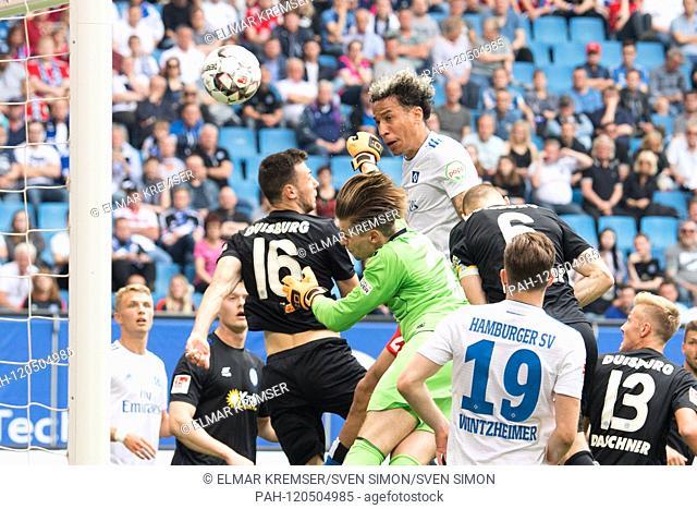 Leo LACROIX (right, HH) heads the ball to score 1-0 for HSV Hamburg Hamburg Hamburg, header, kv? Pft, action, football 2nd Bundesliga, 34th matchday