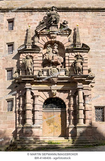 Christian's portal in the barrack, Plassenburg, Kulmbach, Upper Franconia, Franconia, Bavaria, Germany