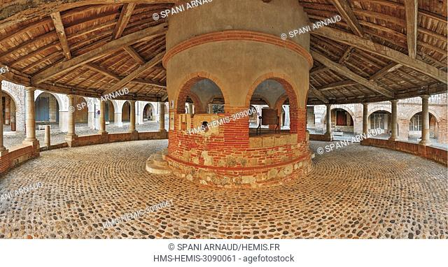 France, Tarn et Garonne, Auvillar, listed as The most beautiful villages in France, Inside the circular hall with wheat measures
