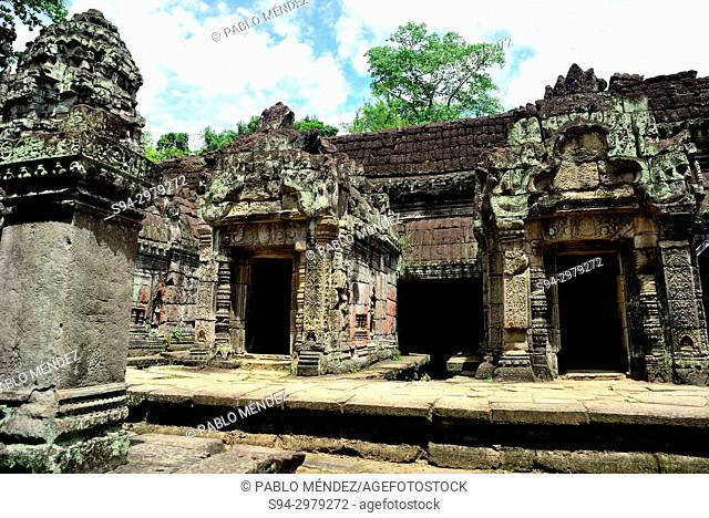 Relieves in Preah Khan temple, Angkor area, Siem Reap, Cambodia
