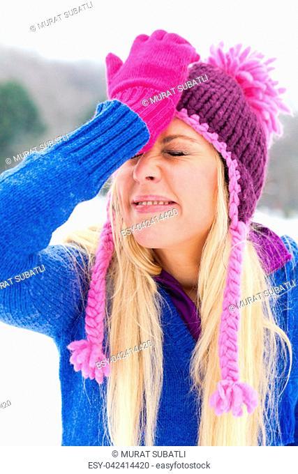 Girl in park in winter