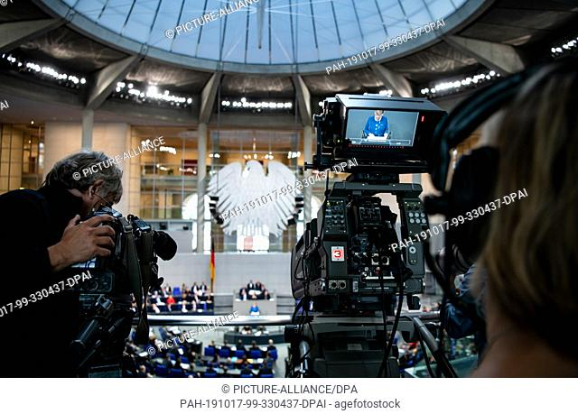 17 October 2019, Berlin: Chancellor Angela Merkel (CDU) holds a government declaration on the upcoming European Council in the plenary session of the German...