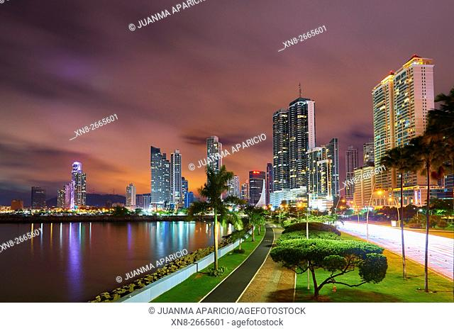 Cinta Costera at Night, Panama City, Republic of Panama, Central America
